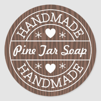Handmade stamp on dark wood custom product name classic round sticker