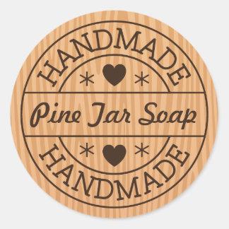 Handmade stamp on wood custom product name classic round sticker