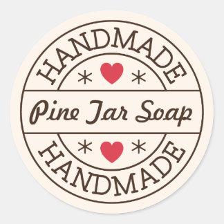 Handmade stamp red heart custom product name classic round sticker