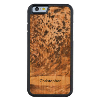 Handmade Texas Long Horn Cowhide Pattern Custom Carved® Cherry iPhone 6 Bumper Case