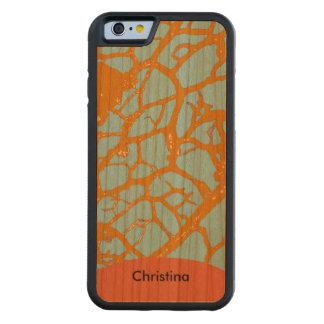 Handmade Vintage Tangerine Teal Patterns Custom Carved® Cherry iPhone 6 Bumper Case