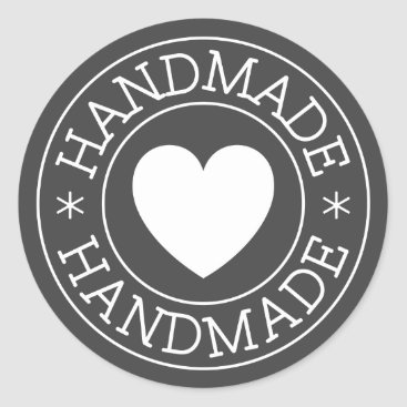 Professional Business Handmade, white stamp design with heart on gray classic round sticker