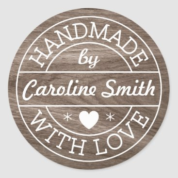 Professional Business Handmade with love by custom name brown wood grain classic round sticker