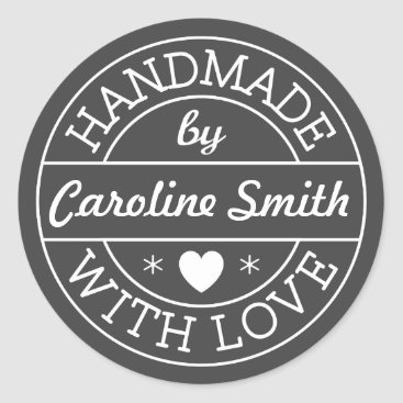 Professional Business Handmade with love by personalized name, dark gray classic round sticker