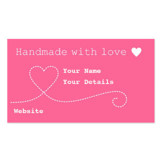 Handmade with Love Craft Business Tags - Deep Pink Business Card