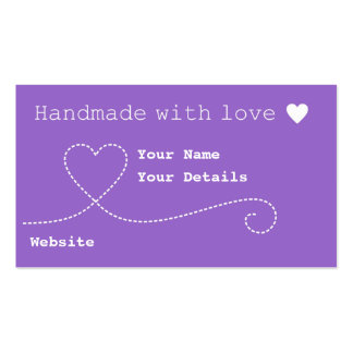 Handmade with Love Craft Business Tags Deep Purple Business Card