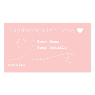 Handmade with Love Craft Business Tags Light Pink Business Card