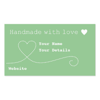 Handmade with Love Craft Business Tags Mint Green Business Card