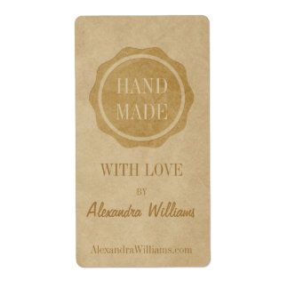 Handmade with love craft labels Crafty