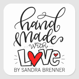 Handmade with Love, Customizable Square Sticker