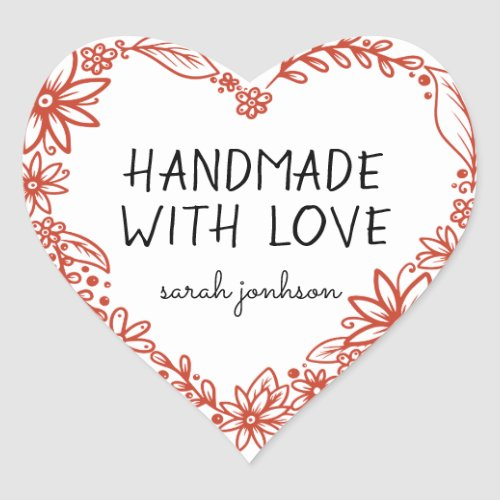 Handmade With Love Floral Heart Wreath Name Heart Sticker
