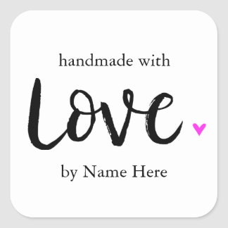 Handmade with Love, Hand Lettered Label Square Sticker