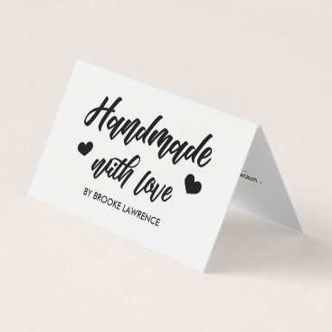 Professional Business Handmade with Love Heart - Care Instructions Business Card