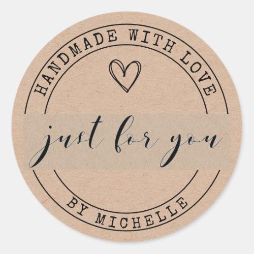 Handmade With Love Kraft Personalized Sticker