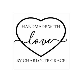 Handmade with love personalized heart typography rubber stamp