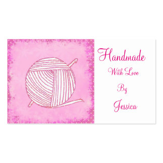 Handmade with love pink crochet business card