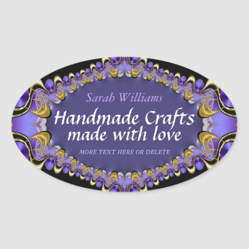 Handmade with Love Purple Gold Label Sticker