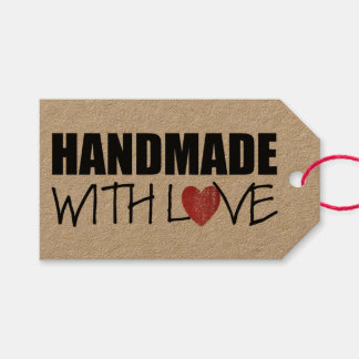 HANDMADE with love Red Heart Stamp Gift Tags
