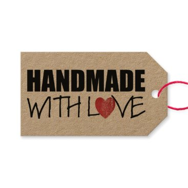 Professional Business HANDMADE with love Red Heart Stamp Gift Tags