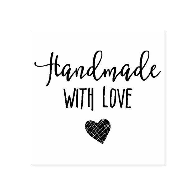 Handmade with Love Rubber Stamp   Zazzle.com