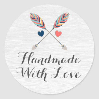 Handmade With Love Rustic Arrow Bohemian Packaging Classic Round Sticker