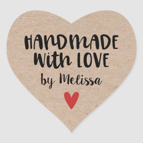 Handmade With Love Rustic Kraft Heart Sticker