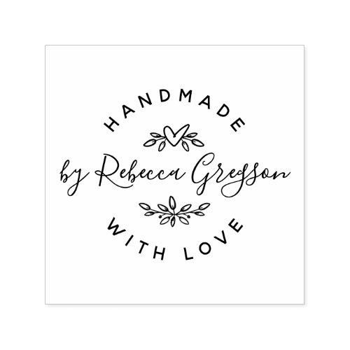 Handmade With Love  Rustic Script  Heart Wreath Self_inking Stamp