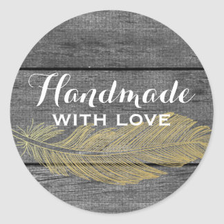 Handmade With Love Rustic Wood & Gold Feather Classic Round Sticker
