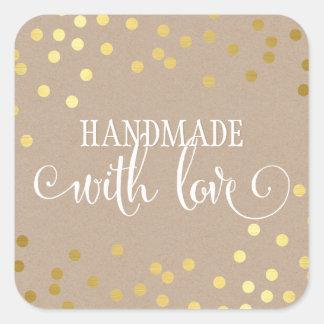 HANDMADE WITH LOVE SEAL modern gold confetti kraft Square Sticker