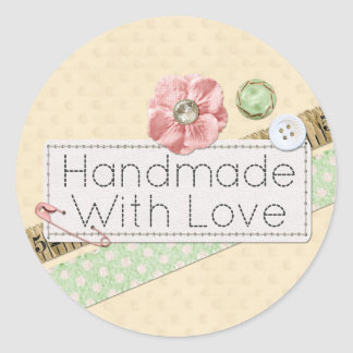 Handmade With Love Sewing Product Packaging Classic Round Sticker