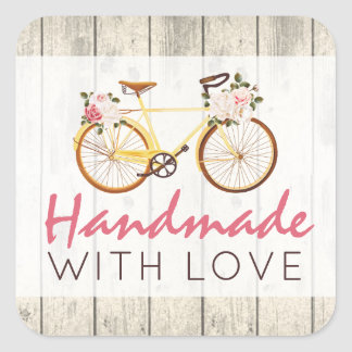 Handmade With Love Shabby Chic Vintage Bicycle Square Sticker