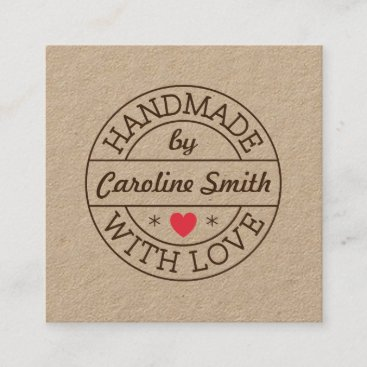 Handmade with love stamp with name kraft paper square business card