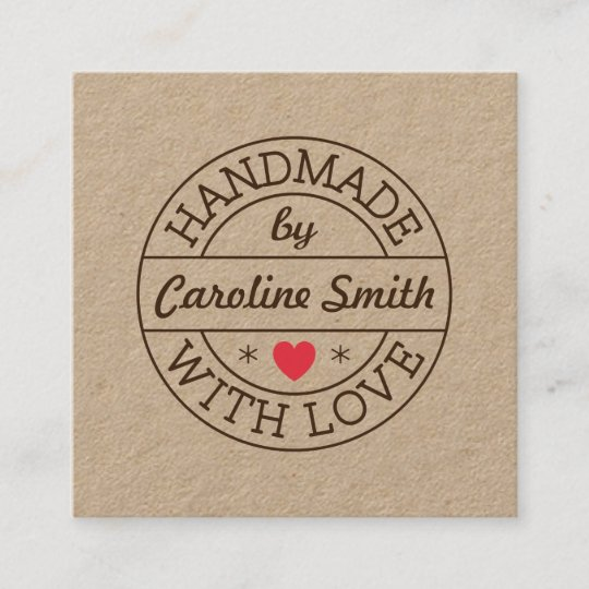 Handmade with love stamp with name kraft paper square business card handmade with love stamp with name kraft paper square business card reheart Image collections