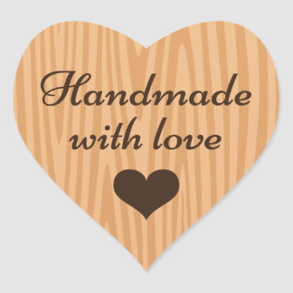 Handmade with love, wood background heart stickers