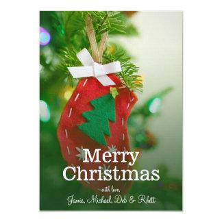 Handmade Xmas tree decoration on Christmas tree 5x7 Paper Invitation Card