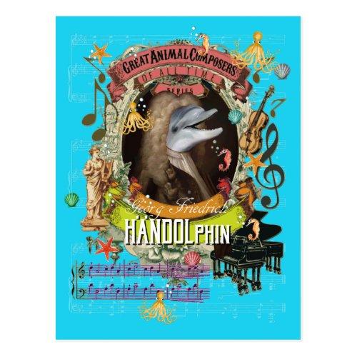 Handolphin Funny Dolphin Animal Composer Handel Postcard