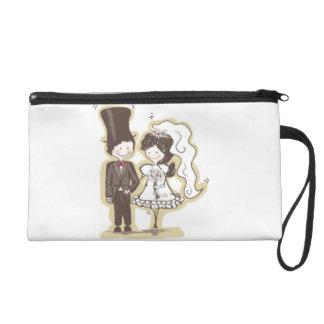 Handpainted Bride and Groom Cartoon Holding Hands Wristlet Purse