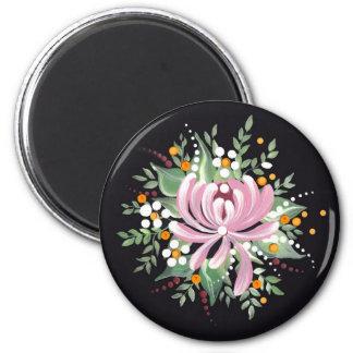 Handpainted Chrysanthemum 2 Inch Round Magnet