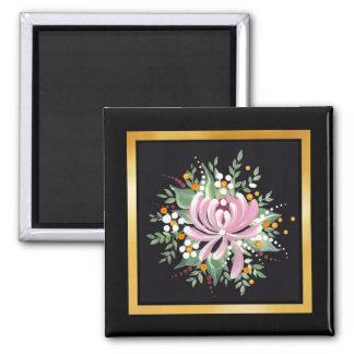 Handpainted Chrysanthemum 2 Inch Square Magnet