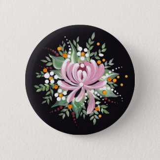 Handpainted Chrysanthemum Pinback Button