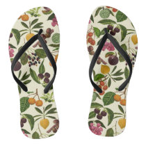 Handpainted Colorful Rustic Tropical Fruit Pattern Flip Flops