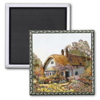 Handpainted Country Cottage 2 Inch Square Magnet