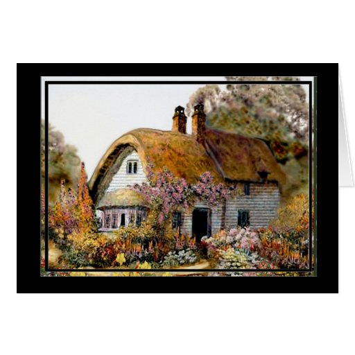 Handpainted Country Cottage Card