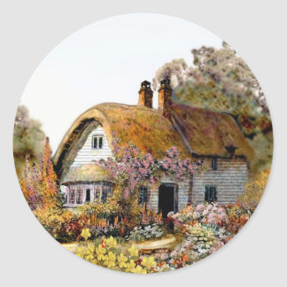 Handpainted Country Cottage Classic Round Sticker