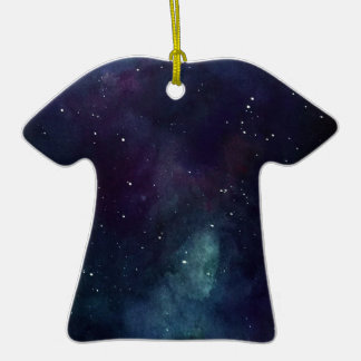 Handpainted Galaxy Double-Sided T-Shirt Ceramic Christmas Ornament