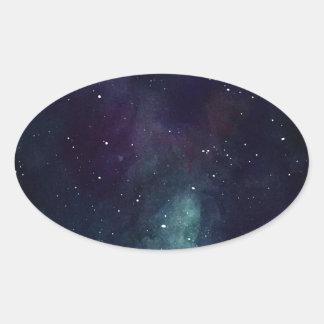 Handpainted Galaxy Oval Sticker