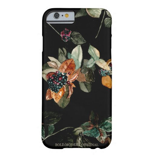 Handpainted Leaves Berries Plants Black phone case