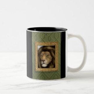 Handpainted Lion Mug. Two-Tone Coffee Mug