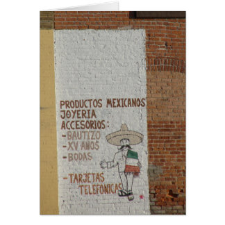 Handpainted Mexican Products Sign Card