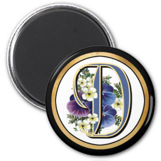 Handpainted Pansy IInitial - D 2 Inch Round Magnet